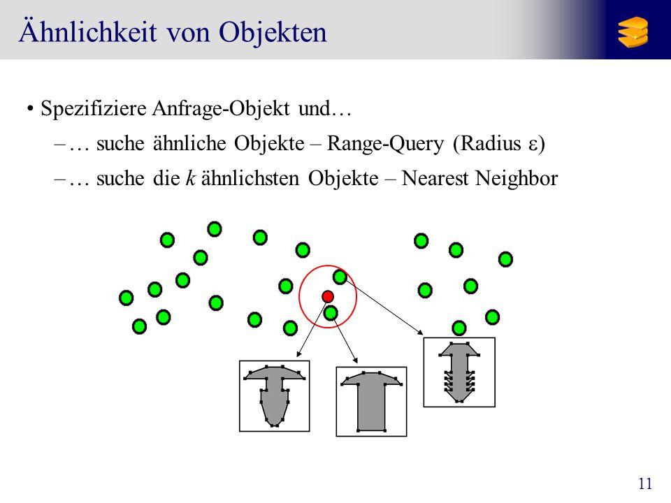 11 Ähnlichkeit von Objekten Spezifiziere Anfrage-Objekt und… –… suche ähnliche Objekte – Range-Query (Radius  ) –… suche die k ähnlichsten Objekte – Nearest Neighbor