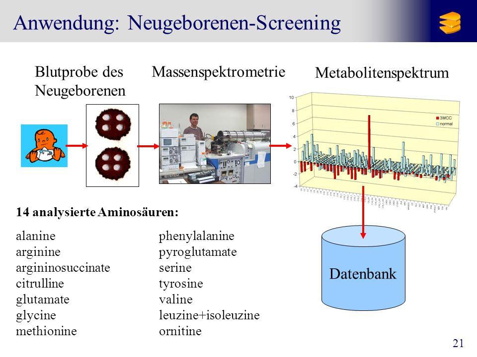 21 Anwendung: Neugeborenen-Screening Blutprobe des Neugeborenen Massenspektrometrie Metabolitenspektrum Datenbank 14 analysierte Aminosäuren: alaninephenylalanine arginine pyroglutamate argininosuccinateserine citrullinetyrosine glutamatevaline glycineleuzine+isoleuzine methionine ornitine