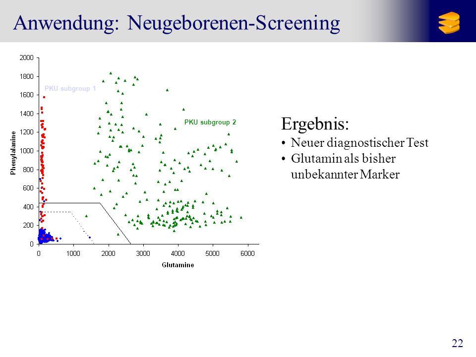 22 Anwendung: Neugeborenen-Screening PKU subgroup 2 PKU subgroup 1 Ergebnis: Neuer diagnostischer Test Glutamin als bisher unbekannter Marker
