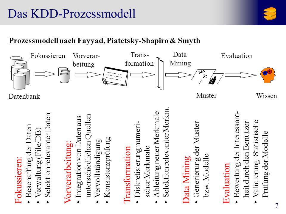 """8 Merkmale (""""Features ) von Objekten Oft sind die betrachteten Objekte komplex Eine Aufgabe des KDD-Experten ist dann, geeignete Merkmale (Features) zu definieren bzw."""