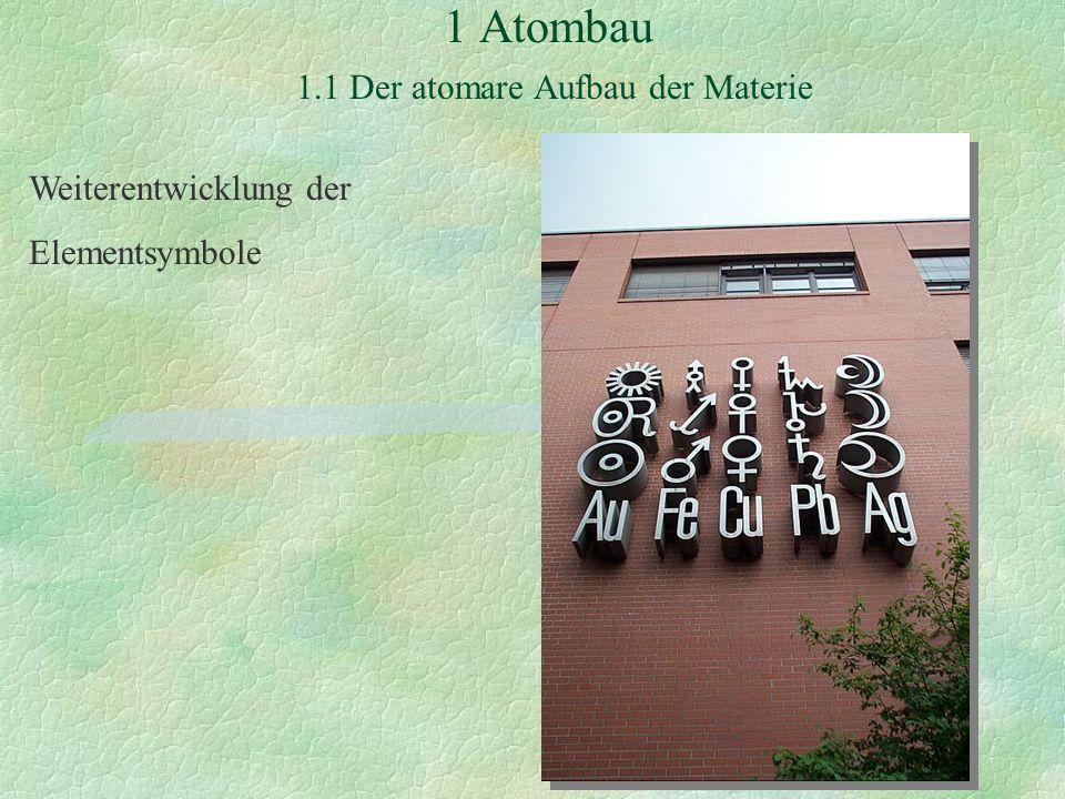 1 Atombau 1.1 Der atomare Aufbau der Materie Weiterentwicklung der Elementsymbole