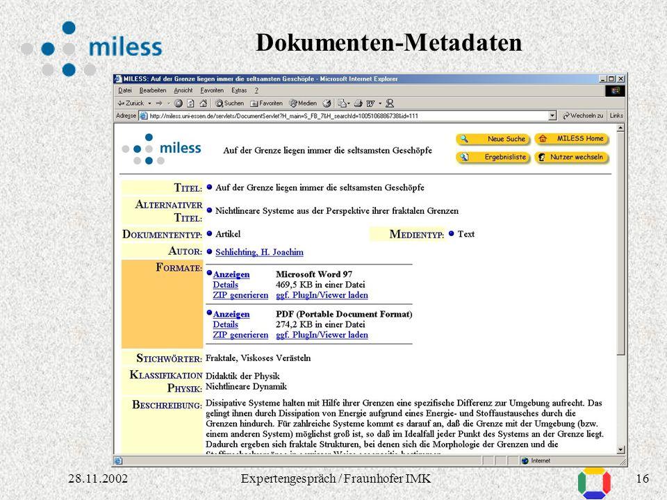 1528.11.2002Expertengespräch / Fraunhofer IMK Ergebnisliste