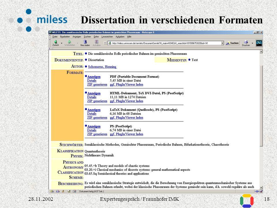 1728.11.2002Expertengespräch / Fraunhofer IMK Applet für Autoren: Einstellen / Ändern