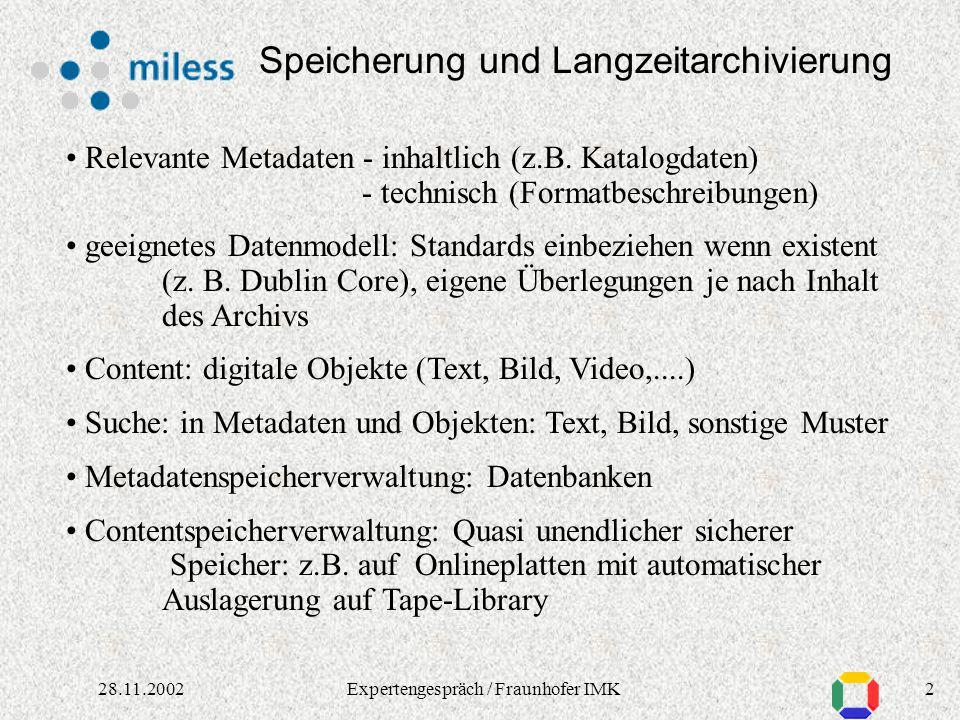 128.11.2002Expertengespräch / Fraunhofer IMK D. Nastoll HochschulRechenZentrum Speicherung und Langzeitarchivierung Digitale Bibliotheks- und Archivlö