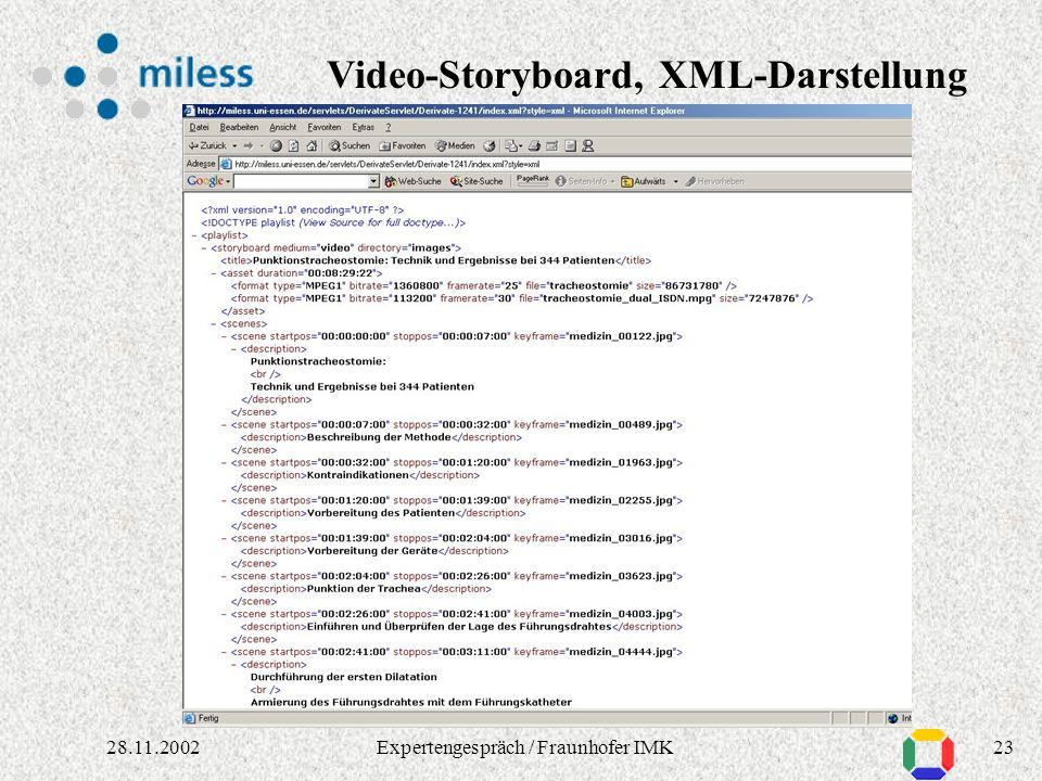 2228.11.2002Expertengespräch / Fraunhofer IMK Video-Storyboard via XSL-Stylesheet