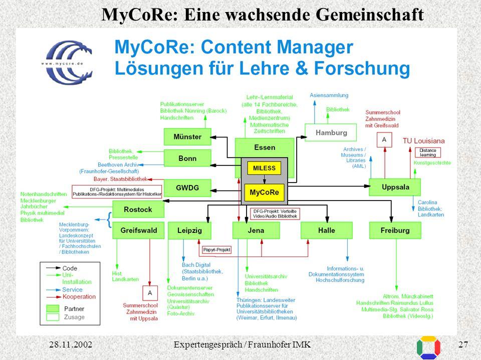 2628.11.2002Expertengespräch / Fraunhofer IMK Essen, Jena: Verteilte Digitale Audio-/Video-Bibliothek Freiburg: Sammlung Salvator Rosa, Handschriften