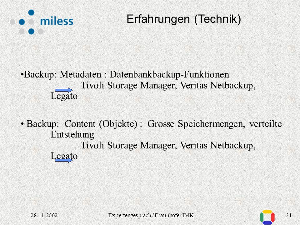 3028.11.2002Expertengespräch / Fraunhofer IMK Erfahrungen (Technik) Fragen der Langzeitarchivierung: mit automatisierten Verfahren z.B.