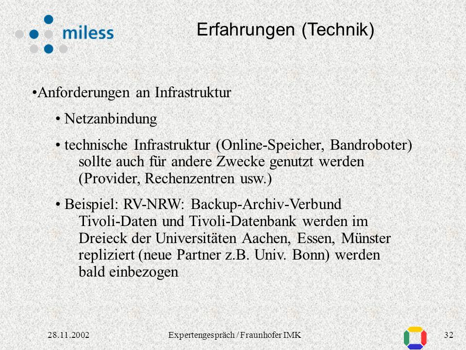 3128.11.2002Expertengespräch / Fraunhofer IMK Erfahrungen (Technik) Backup: Metadaten : Datenbankbackup-Funktionen Tivoli Storage Manager, Veritas Net