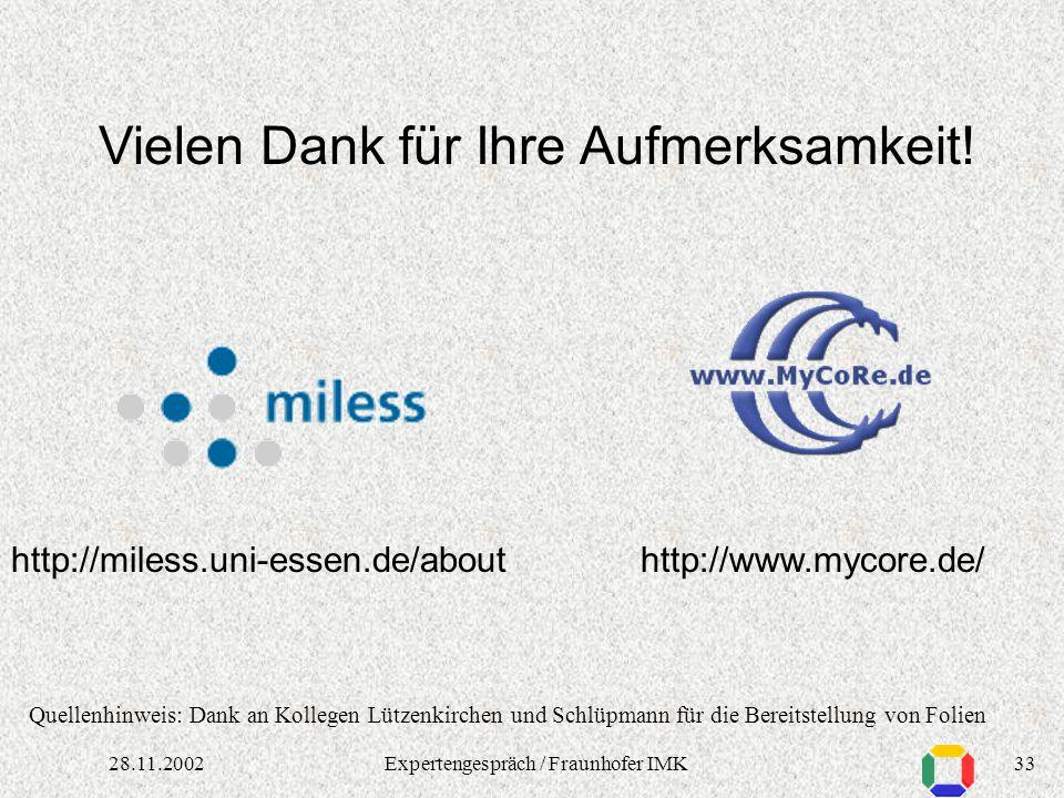 3228.11.2002Expertengespräch / Fraunhofer IMK Erfahrungen (Technik) Anforderungen an Infrastruktur Netzanbindung technische Infrastruktur (Online-Spei