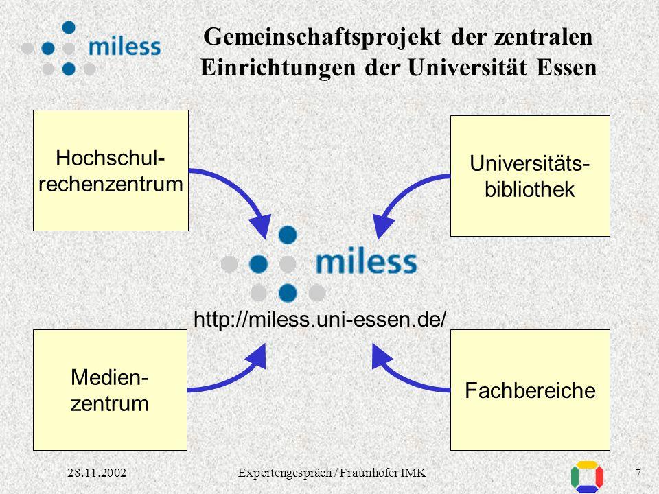 628.11.2002Expertengespräch / Fraunhofer IMK Verschiedenste Formate Multimediales Material:Ziele in MILESS: Unterstützung beliebiger Dateiformate Audi