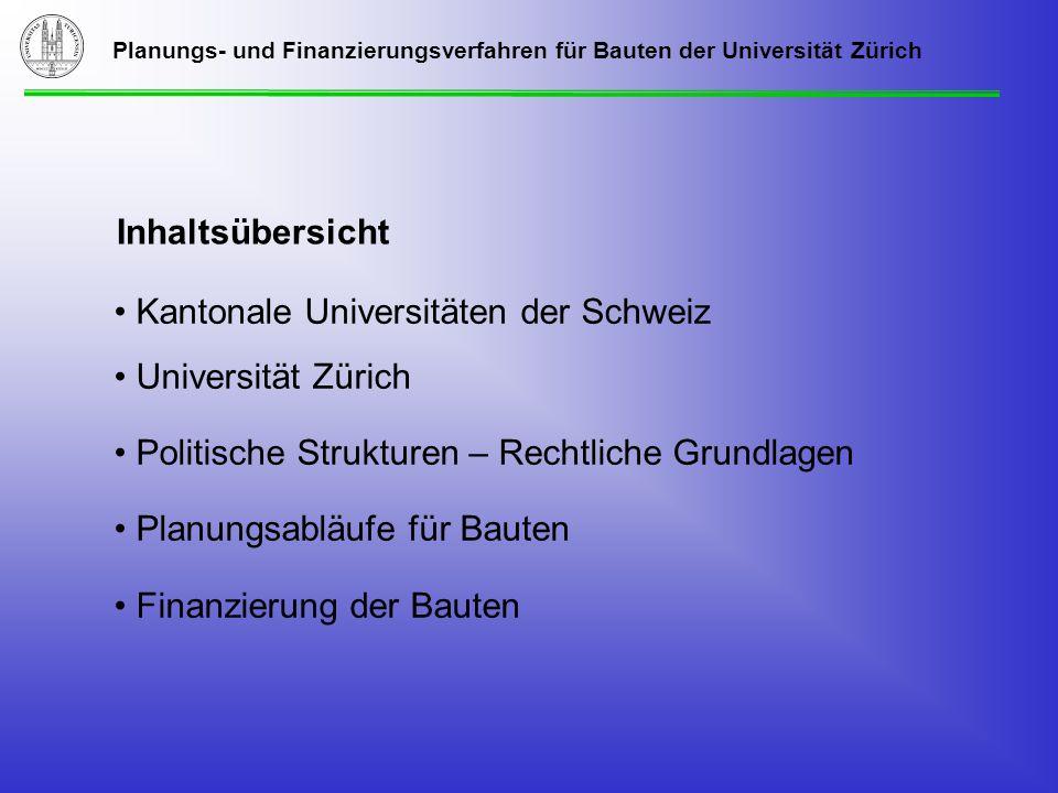 Planungs- und Finanzierungsverfahren für Bauten der Universität Zürich Kantonale Universitäten