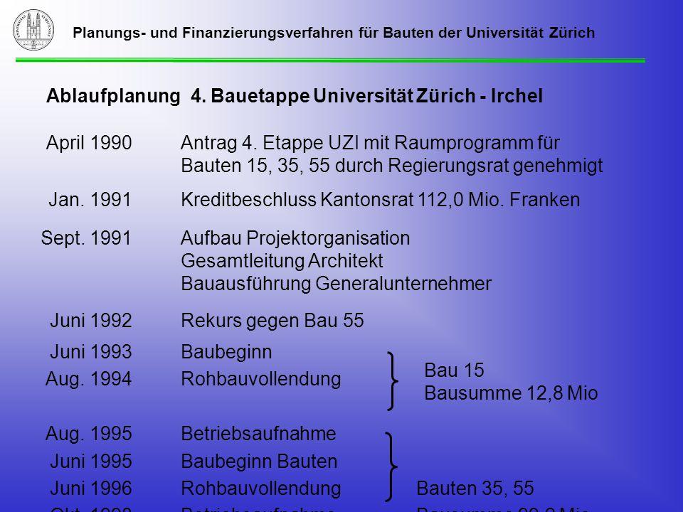 Planungs- und Finanzierungsverfahren für Bauten der Universität Zürich Ablaufplanung 4.