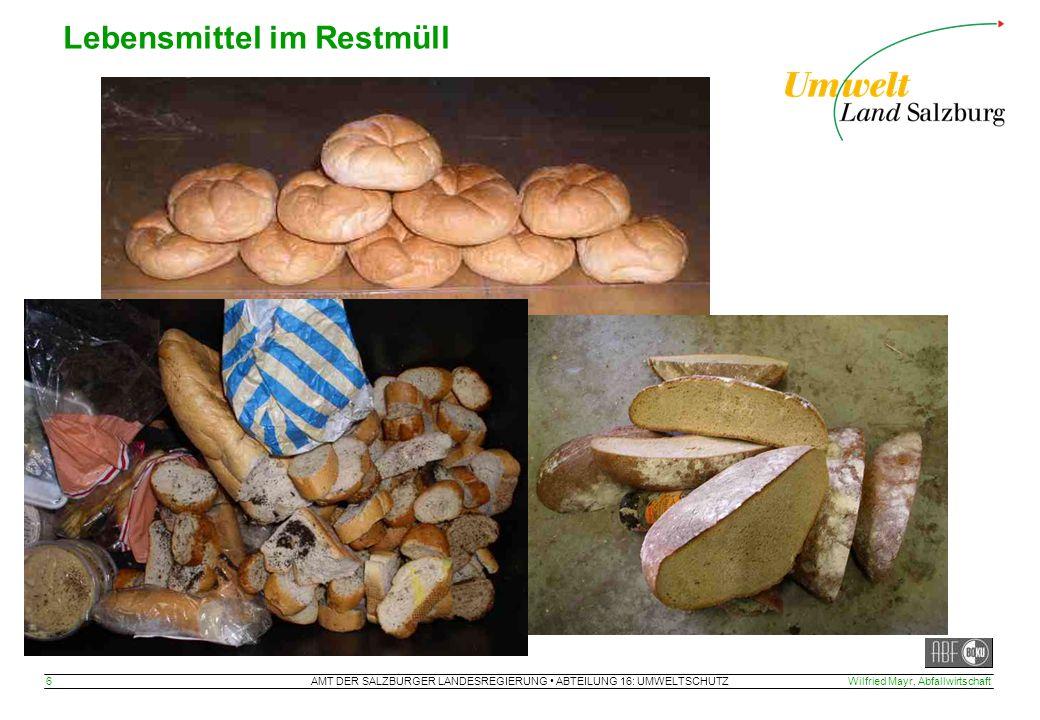 AMT DER SALZBURGER LANDESREGIERUNG ABTEILUNG 16: UMWELTSCHUTZ 6Wilfried Mayr, Abfallwirtschaft Lebensmittel im Restmüll