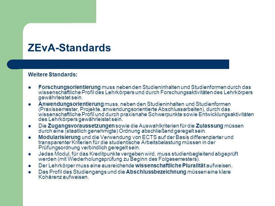ZEvA-Standards Weitere Standards: Forschungsorientierung muss neben den Studieninhalten und Studienformen durch das wissenschaftliche Profil des Lehrkörpers und durch Forschungsaktivitäten des Lehrkörpers gewährleistet sein.