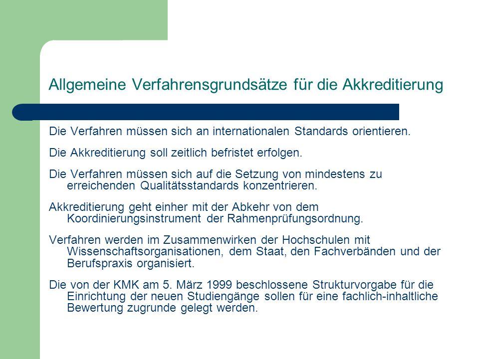 Allgemeine Verfahrensgrundsätze für die Akkreditierung Die Verfahren müssen sich an internationalen Standards orientieren.