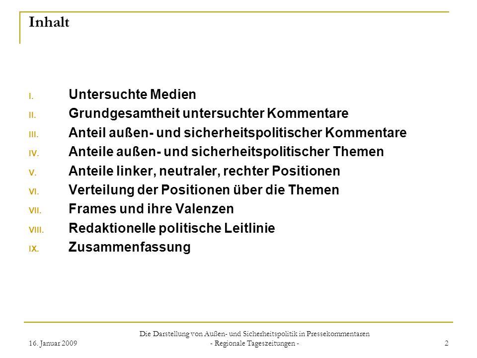 16. Januar 2009 Die Darstellung von Außen- und Sicherheitspolitik in Pressekommentaren - Regionale Tageszeitungen - 2 Inhalt I. Untersuchte Medien II.