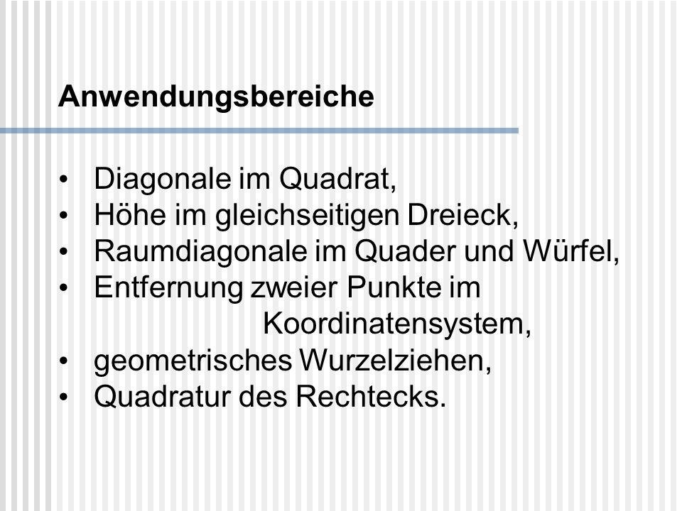 Anwendungsbereiche Diagonale im Quadrat, Höhe im gleichseitigen Dreieck, Raumdiagonale im Quader und Würfel, Entfernung zweier Punkte im Koordinatensy