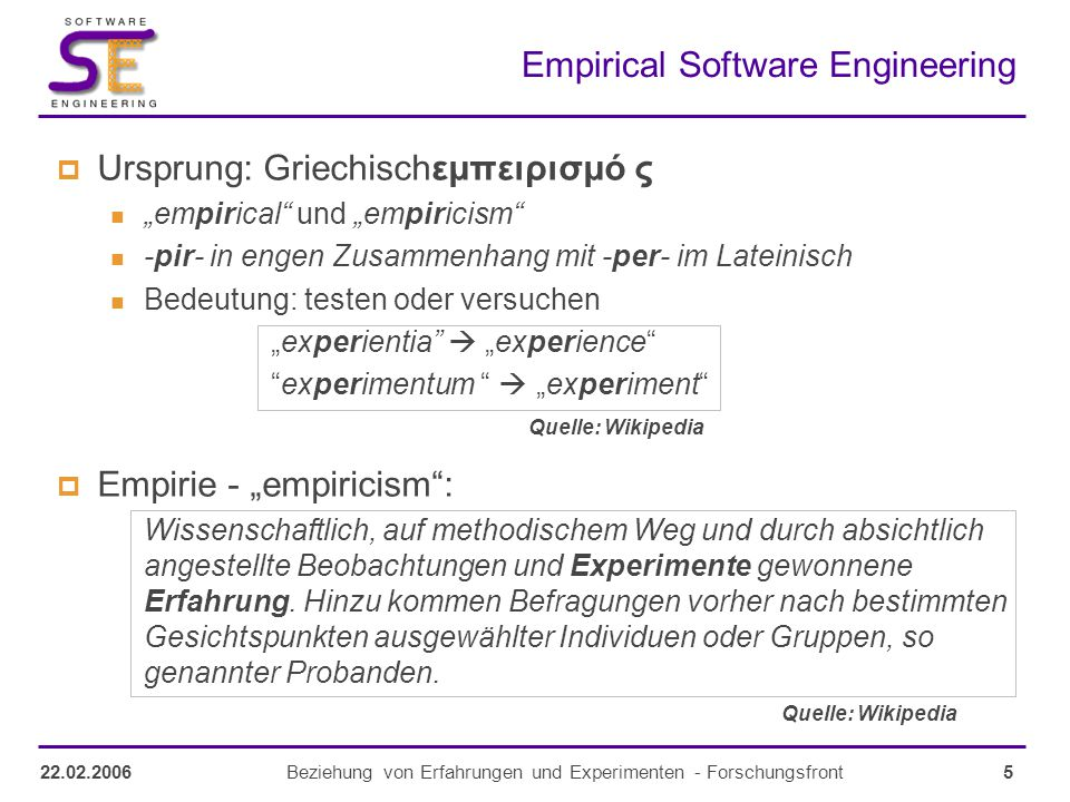 26Beziehung von Erfahrungen und Experimenten - Forschungsfront22.02.2006 Should Computer Scientist experiment more.
