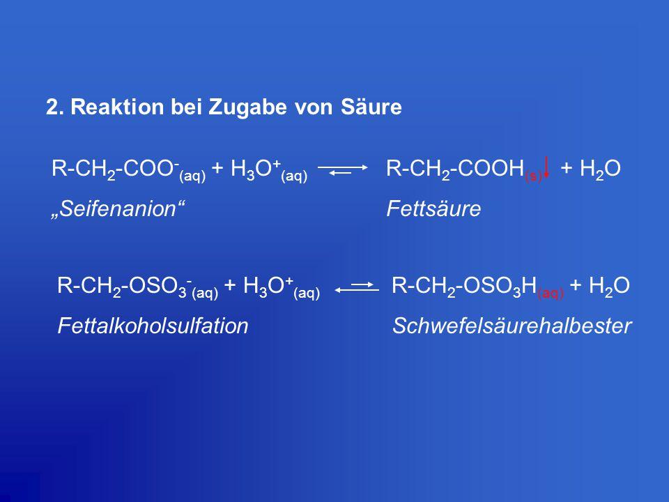 "2. Reaktion bei Zugabe von Säure R-CH 2 -COO - (aq) + H 3 O + (aq) R-CH 2 -COOH (s) + H 2 O ""Seifenanion""Fettsäure R-CH 2 -OSO 3 - (aq) + H 3 O + (aq)"