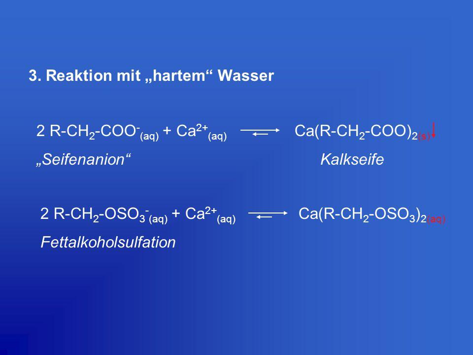 "3. Reaktion mit ""hartem"" Wasser 2 R-CH 2 -COO - (aq) + Ca 2+ (aq) Ca(R-CH 2 -COO) 2(s) ""Seifenanion""Kalkseife 2 R-CH 2 -OSO 3 - (aq) + Ca 2+ (aq) Ca(R"