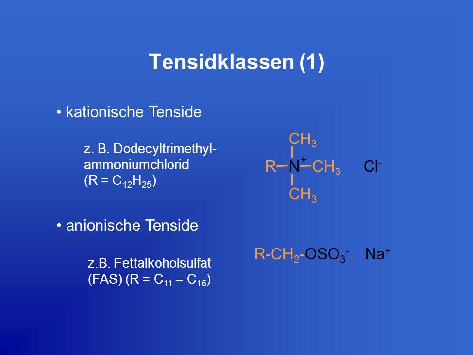 Tensidklassen (1) kationische Tenside anionische Tenside R-CH 2 -OSO 3 - Na + CH 3 R + Cl - N z. B. Dodecyltrimethyl- ammoniumchlorid (R = C 12 H 25 )