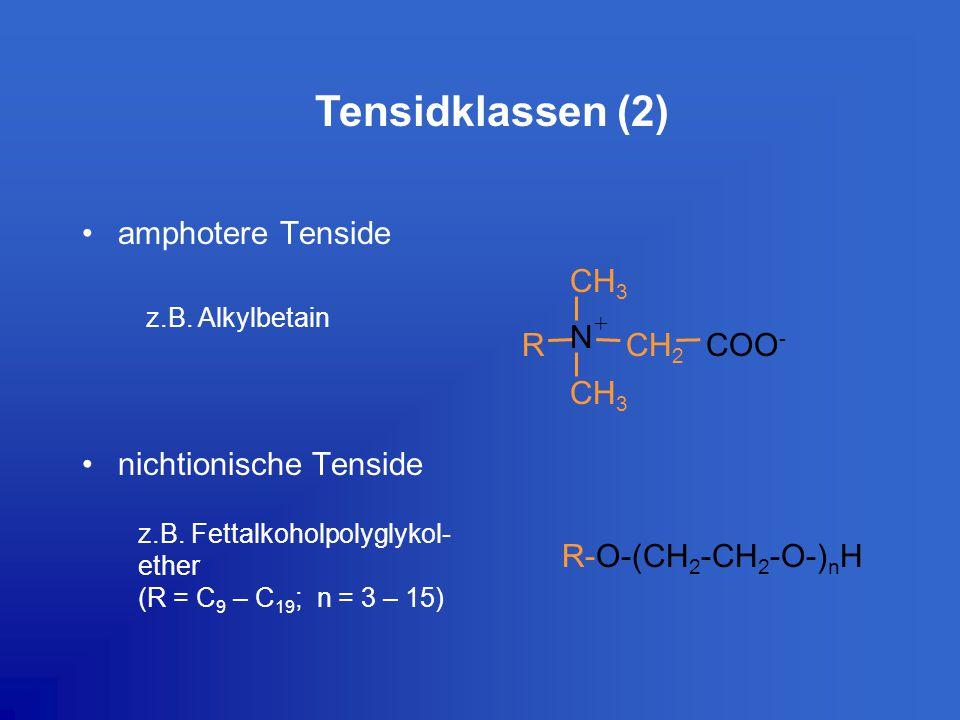 amphotere Tenside nichtionische Tenside R-O-(CH 2 -CH 2 -O-) n H z.B. Fettalkoholpolyglykol- ether (R = C 9 – C 19 ; n = 3 – 15) CH 3 R N CH 2 COO - +