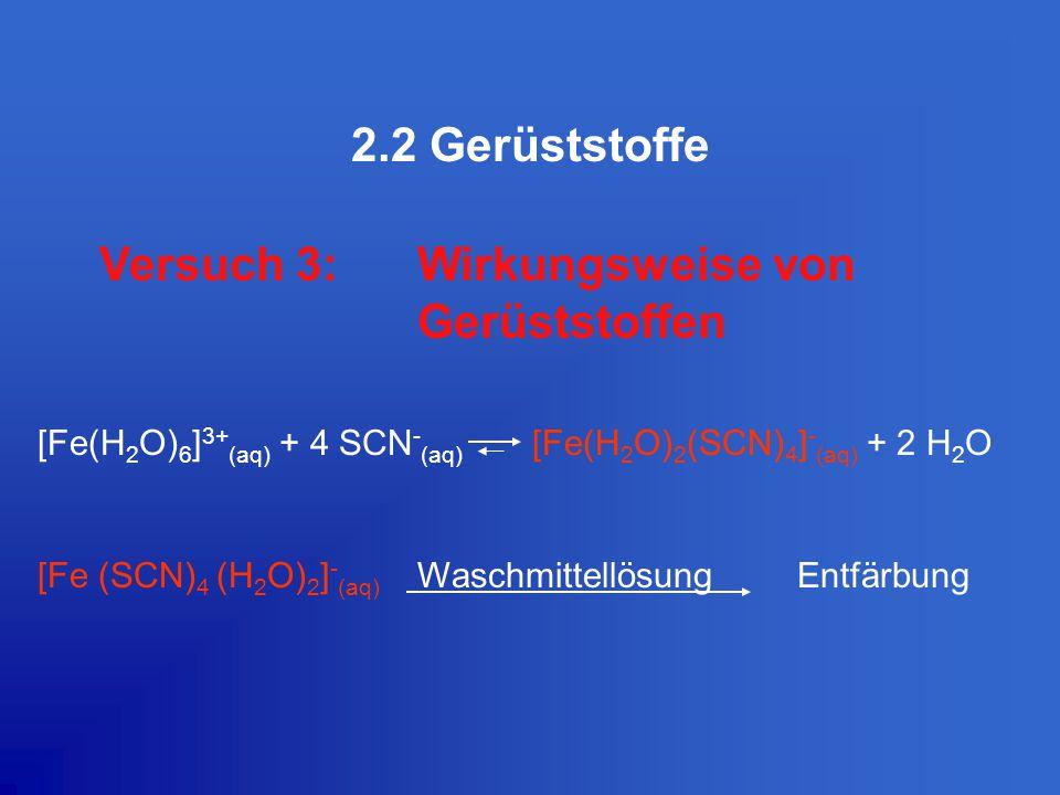 2.2 Gerüststoffe Versuch 3:Wirkungsweise von Gerüststoffen [Fe(H 2 O) 6 ] 3+ (aq) + 4 SCN - (aq) [Fe(H 2 O) 2 (SCN) 4 ] - (aq) + 2 H 2 O [Fe (SCN) 4 (