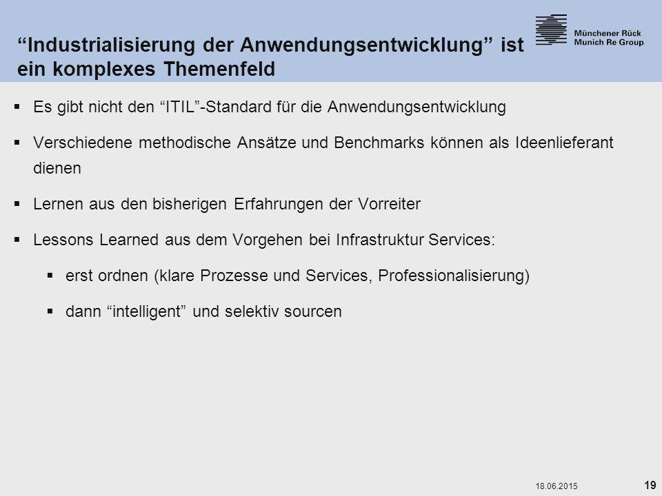 """19 18.06.2015 """"Industrialisierung der Anwendungsentwicklung"""" ist ein komplexes Themenfeld  Es gibt nicht den """"ITIL""""-Standard für die Anwendungsentwic"""