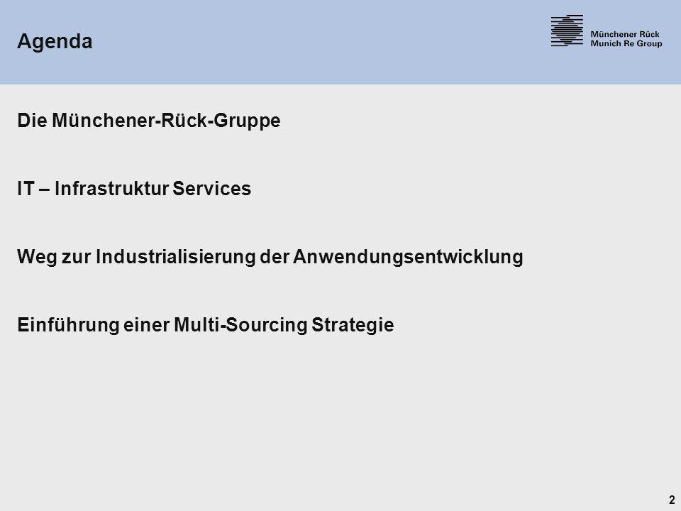 2 Agenda Die Münchener-Rück-Gruppe IT – Infrastruktur Services Weg zur Industrialisierung der Anwendungsentwicklung Einführung einer Multi-Sourcing Strategie
