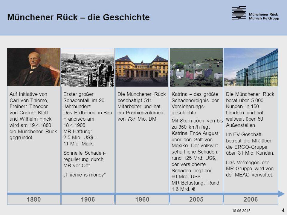 4 18.06.2015 Münchener Rück – die Geschichte 1880 Auf Initiative von Carl von Thieme, Freiherr Theodor von Cramer-Klett und Wilhelm Finck wird am 19.4