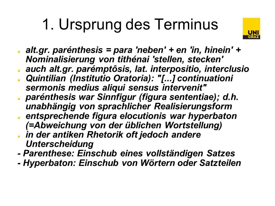 1. Ursprung des Terminus alt.gr.
