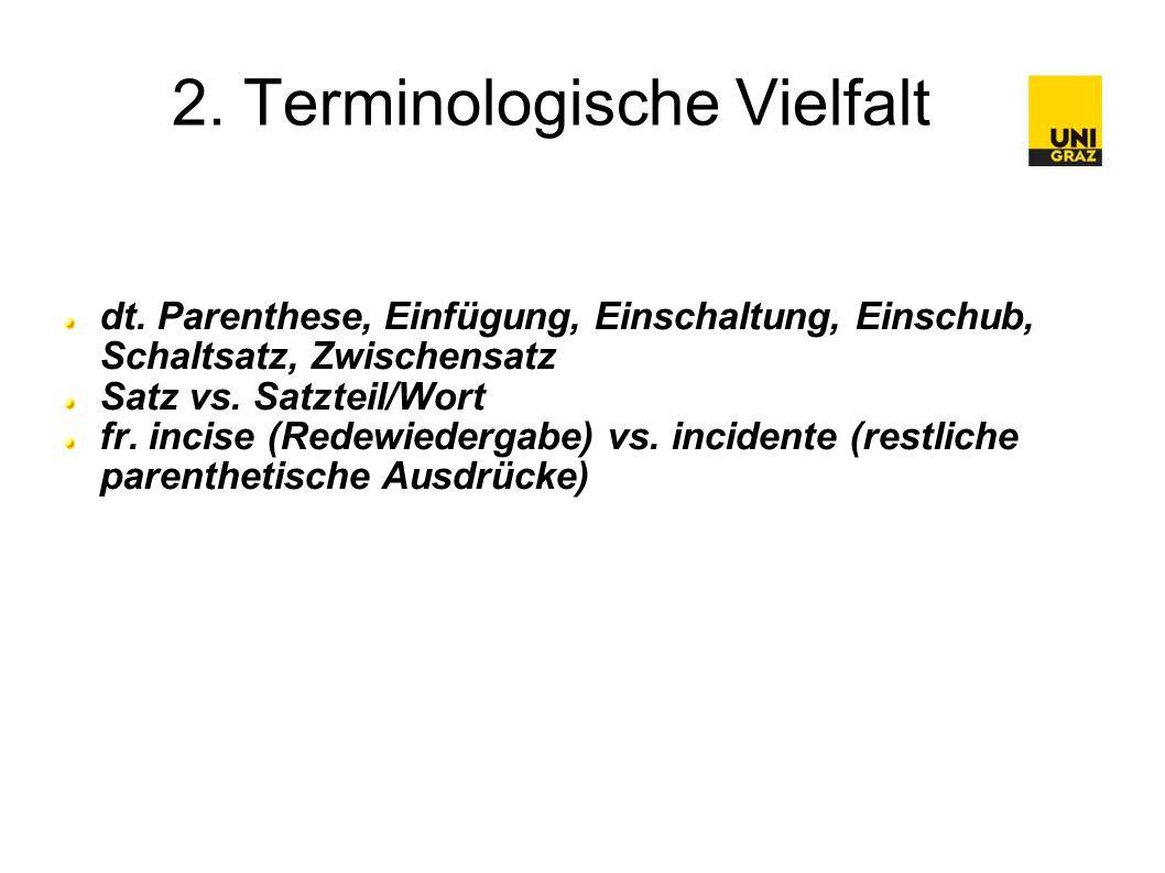 3.1 Fehlen einer allgemein gültigen Definition Es gibt keine allgemein gültige Definition von Parenthese .