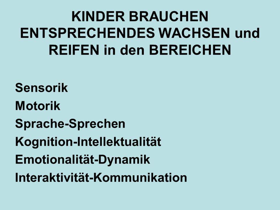 KINDER BRAUCHEN ENTSPRECHENDES WACHSEN und REIFEN in den BEREICHEN Sensorik Motorik Sprache-Sprechen Kognition-Intellektualität Emotionalität-Dynamik