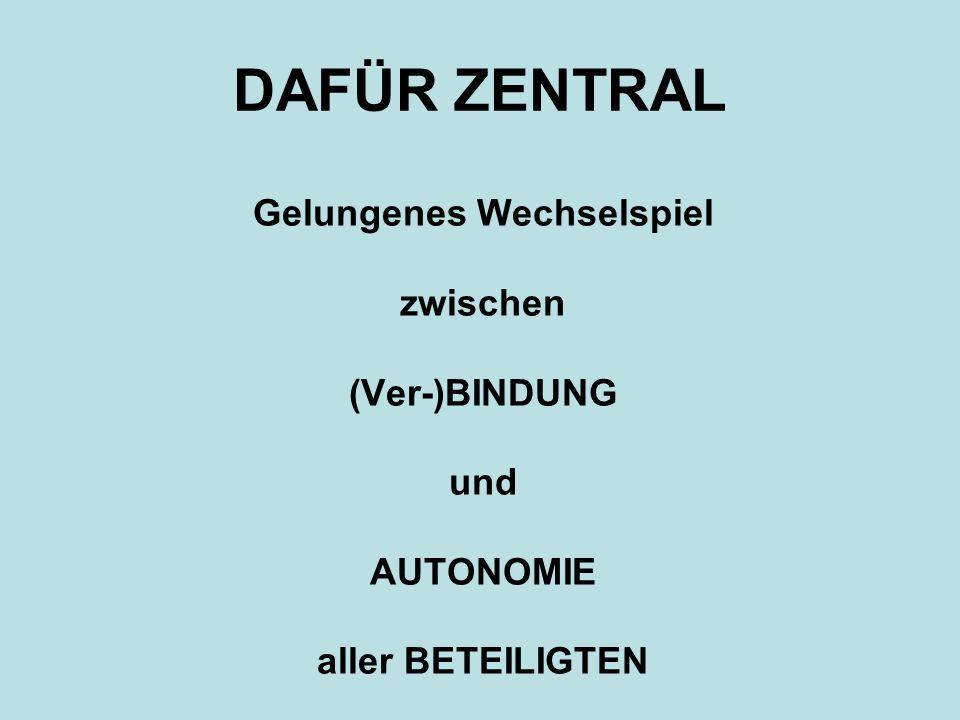 DAFÜR ZENTRAL Gelungenes Wechselspiel zwischen (Ver-)BINDUNG und AUTONOMIE aller BETEILIGTEN