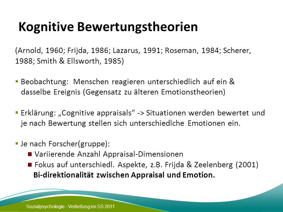 Sozialpsychologie - Vertiefung im SS 2011 Kognitive Bewertungstheorien (Arnold, 1960; Frijda, 1986; Lazarus, 1991; Roseman, 1984; Scherer, 1988; Smith