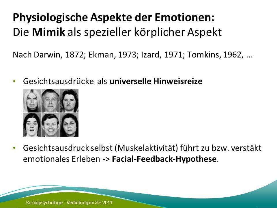 Sozialpsychologie - Vertiefung im SS 2011 Physiologische Aspekte der Emotionen: Die Mimik als spezieller körplicher Aspekt Nach Darwin, 1872; Ekman, 1