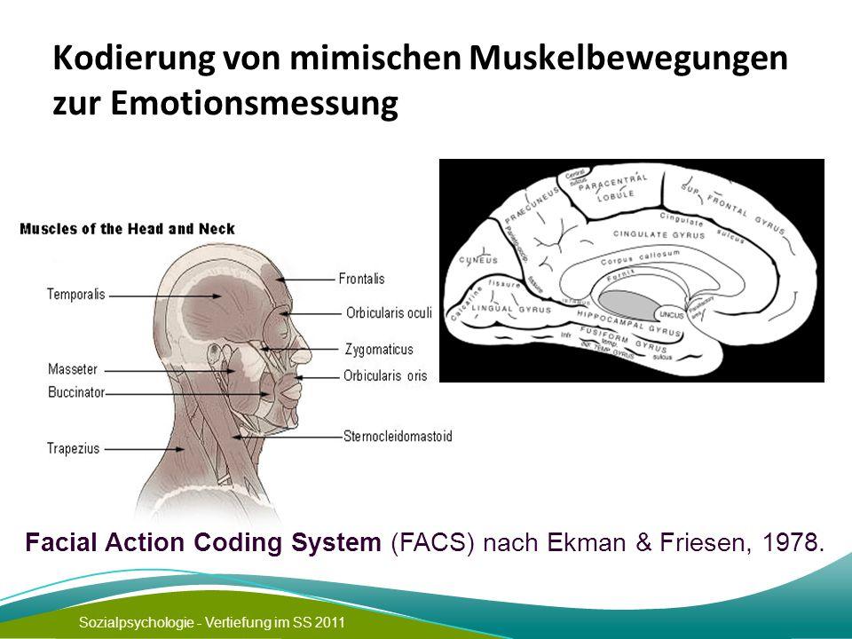 Sozialpsychologie - Vertiefung im SS 2011 Kodierung von mimischen Muskelbewegungen zur Emotionsmessung Facial Action Coding System (FACS) nach Ekman &