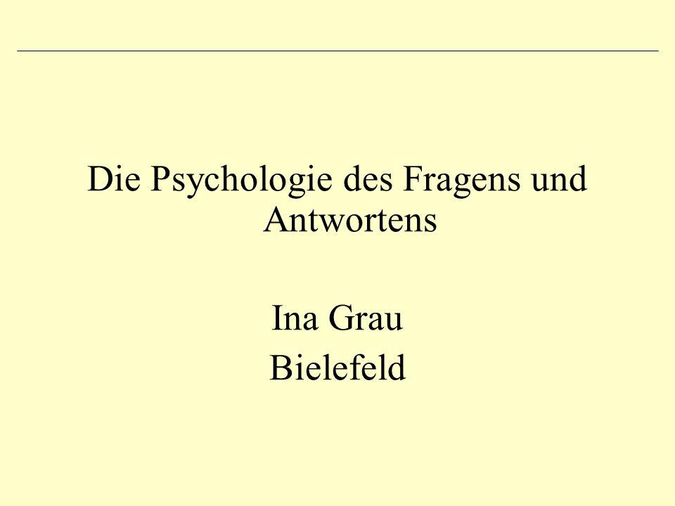 Die Psychologie des Fragens und Antwortens Ina Grau Bielefeld