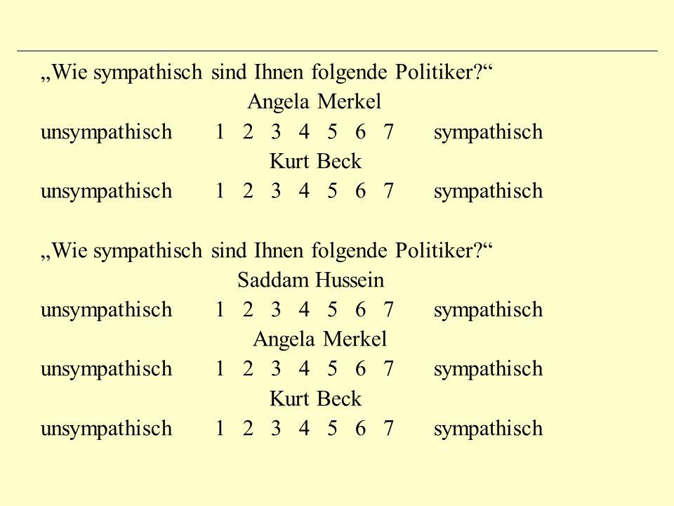"""""""Wie sympathisch sind Ihnen folgende Politiker? Angela Merkel unsympathisch 1 2 3 4 5 6 7 sympathisch Kurt Beck unsympathisch 1 2 3 4 5 6 7 sympathisch """"Wie sympathisch sind Ihnen folgende Politiker? Saddam Hussein unsympathisch 1 2 3 4 5 6 7 sympathisch Angela Merkel unsympathisch 1 2 3 4 5 6 7 sympathisch Kurt Beck unsympathisch 1 2 3 4 5 6 7 sympathisch"""