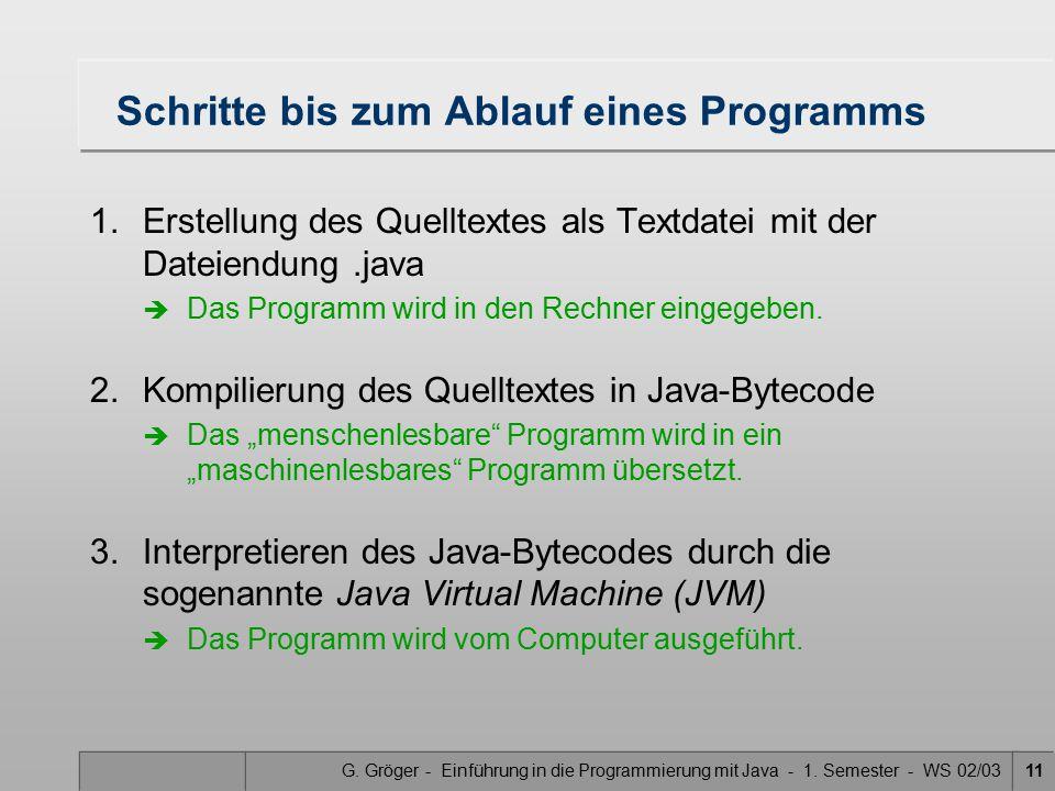 G. Gröger - Einführung in die Programmierung mit Java - 1. Semester - WS 02/0311 Schritte bis zum Ablauf eines Programms 1.Erstellung des Quelltextes