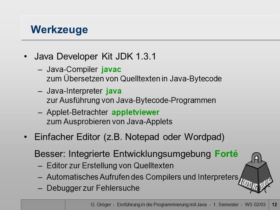 G. Gröger - Einführung in die Programmierung mit Java - 1. Semester - WS 02/0312 Werkzeuge Java Developer Kit JDK 1.3.1 –Java-Compiler javac zum Übers