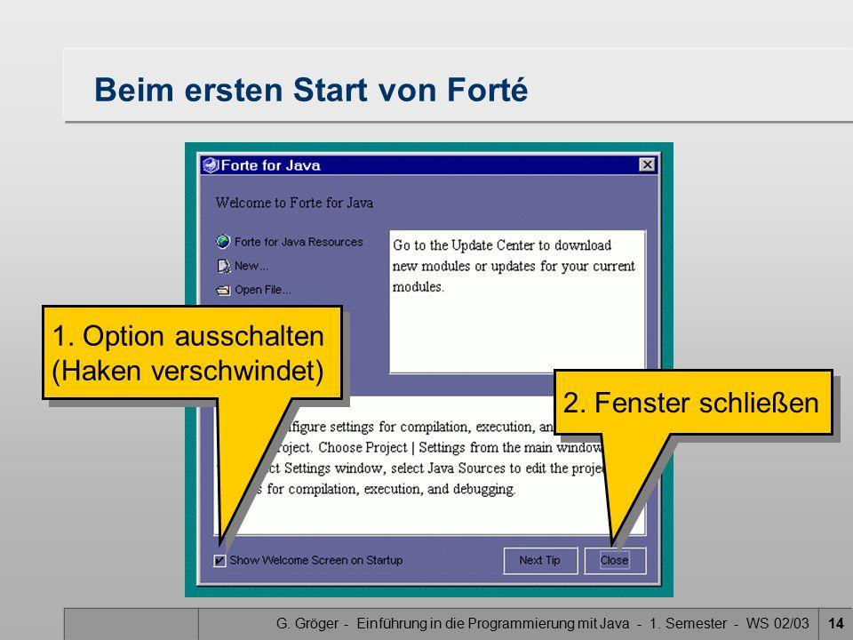 G. Gröger - Einführung in die Programmierung mit Java - 1. Semester - WS 02/0314 Beim ersten Start von Forté 1. Option ausschalten (Haken verschwindet