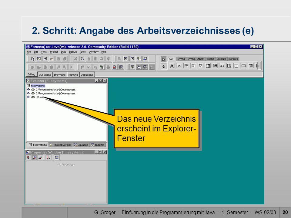 G. Gröger - Einführung in die Programmierung mit Java - 1. Semester - WS 02/0320 2. Schritt: Angabe des Arbeitsverzeichnisses (e) Das neue Verzeichnis