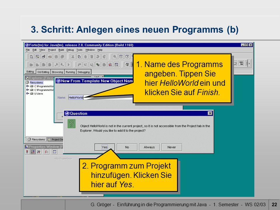 G. Gröger - Einführung in die Programmierung mit Java - 1. Semester - WS 02/0322 3. Schritt: Anlegen eines neuen Programms (b) 1. Name des Programms a