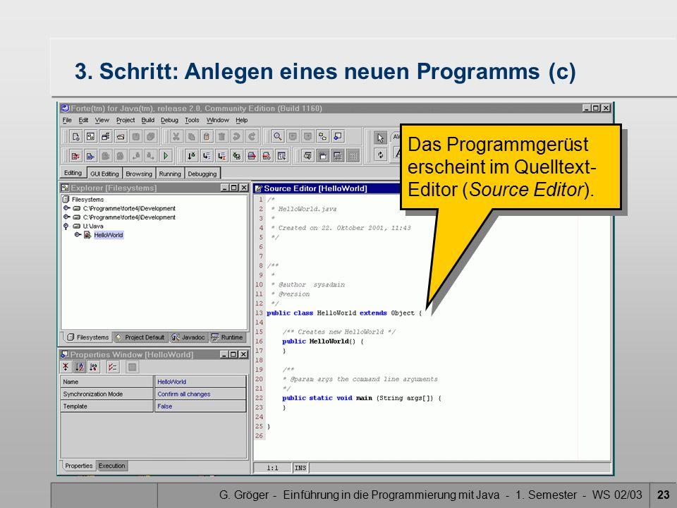 G. Gröger - Einführung in die Programmierung mit Java - 1. Semester - WS 02/0323 3. Schritt: Anlegen eines neuen Programms (c) Das Programmgerüst ersc