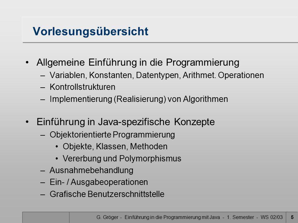G. Gröger - Einführung in die Programmierung mit Java - 1. Semester - WS 02/035 Vorlesungsübersicht Allgemeine Einführung in die Programmierung –Varia