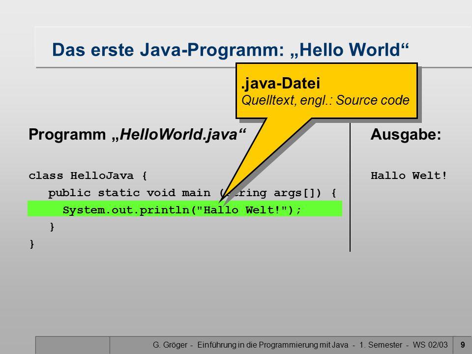 """G. Gröger - Einführung in die Programmierung mit Java - 1. Semester - WS 02/039 Das erste Java-Programm: """"Hello World"""" Programm """"HelloWorld.java"""" clas"""