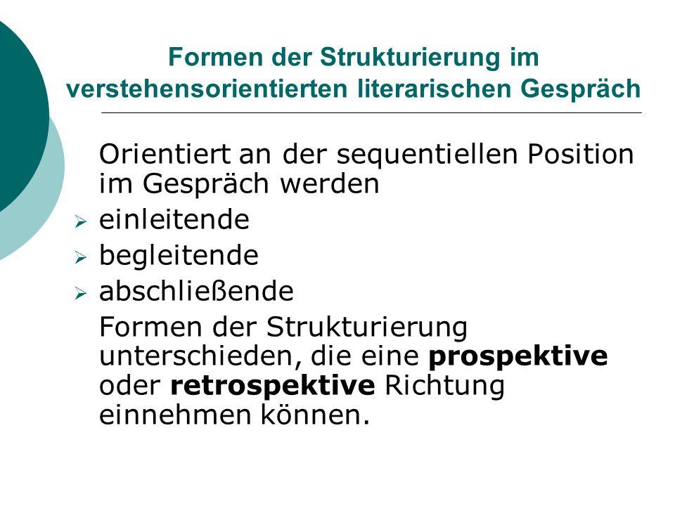 Formen der Strukturierung im verstehensorientierten literarischen Gespräch Orientiert an der sequentiellen Position im Gespräch werden  einleitende 