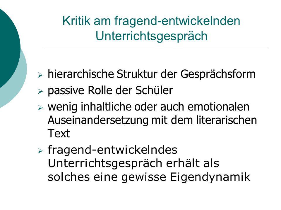 Das literarische Gespräch Gemeinsam ist allen Ansätzen: Ablehnung des fragend- entwickelnden Unterrichtsgesprächs Ziel: Einübung in die Tradition / die kulturelle Technik des lit.