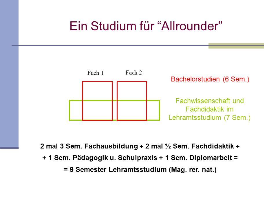 """Ein Studium für """"Allrounder"""" 2 mal 3 Sem. Fachausbildung + 2 mal ½ Sem. Fachdidaktik + + 1 Sem. Pädagogik u. Schulpraxis + 1 Sem. Diplomarbeit = = 9 S"""